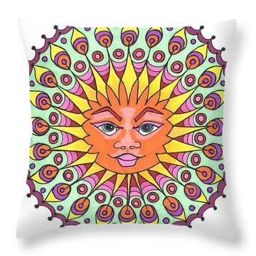 Peacock Sunburst Throw Pillow