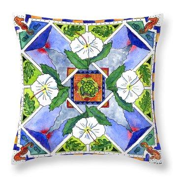 Mandala IIi - White Hibiscus Throw Pillow by Diane Thornton