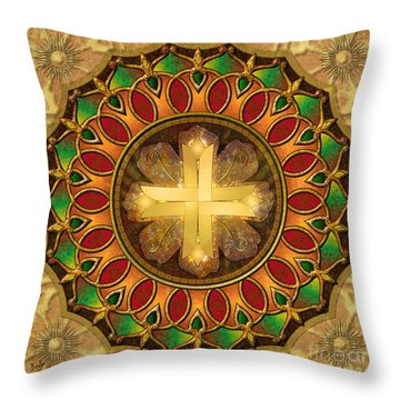 Mandala Illuminated Cross Throw Pillow by Bedros Awak