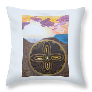 Throw Pillow featuring the painting Mandala In The Sand by Cheryl Bailey