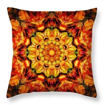 Mandala Of The Sun In A Dark Kingdom Throw Pillow by Anton Kalinichev
