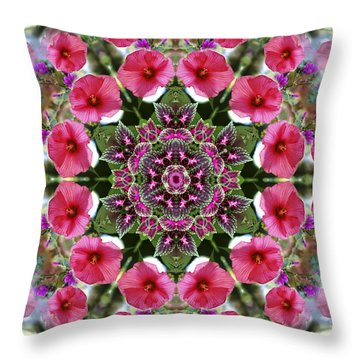 Throw Pillow featuring the digital art Mandala Pink Patron by Nancy Griswold