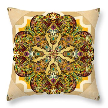 Mandala Sacred Rams - Bright Version Sp Throw Pillow