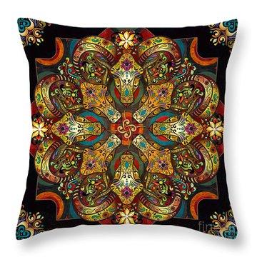 Mandala Sacred Rams - Dark Version Throw Pillow