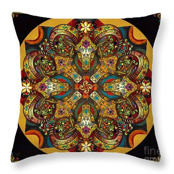 Mandala Sacred Rams - Dark Version Sp Throw Pillow