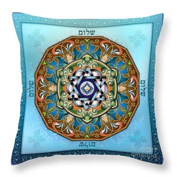 Mandala Shalom Throw Pillow