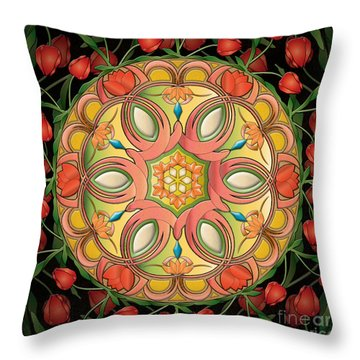 Mandala Tulipa Throw Pillow by Bedros Awak