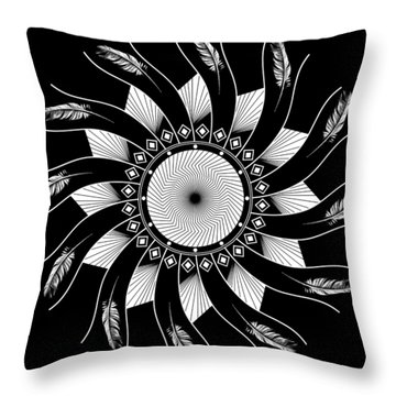 Throw Pillow featuring the digital art Mandala White And Black by Linda Lees