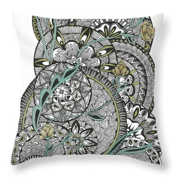 Mandalas With Gold Flowers Throw Pillow