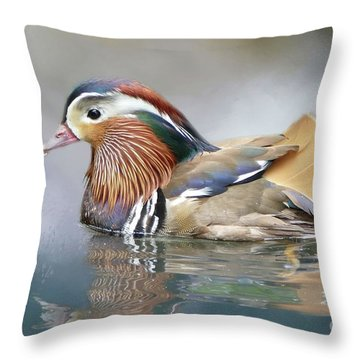 Mandarin Duck Swimming Throw Pillow