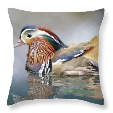Mandarin Duck Swimming Throw Pillow