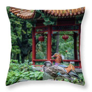Mandarin Ducks At Pavilion Throw Pillow