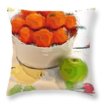 Throw Pillow featuring the digital art Mandarin With Apple by Alexis Rotella