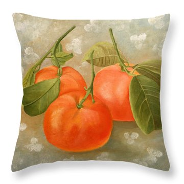 Throw Pillow featuring the painting Mandarins by Angeles M Pomata
