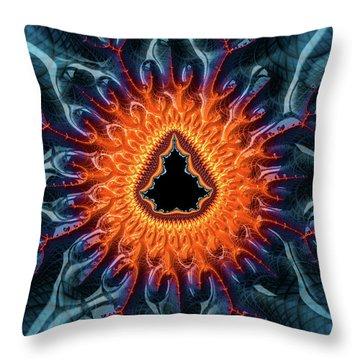 Throw Pillow featuring the digital art Mandelbrot Fractal Orange And Dark Blue by Matthias Hauser