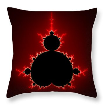 Mandelbrot Set Black And Red Square Format Throw Pillow