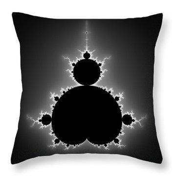 Mandelbrot Set Black And White Fractal Art Throw Pillow