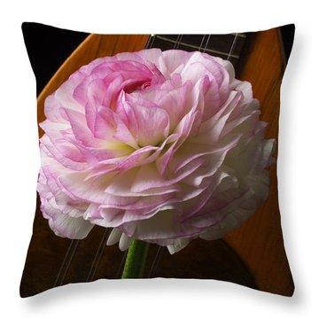 Mandolin And Ranunculus Throw Pillow