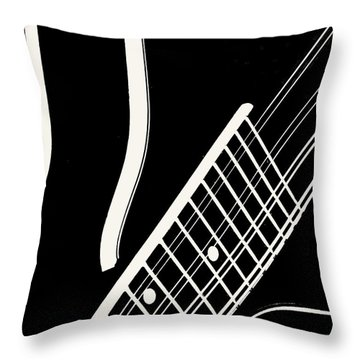 Throw Pillow featuring the digital art Mandolin Close Bw by Jana Russon