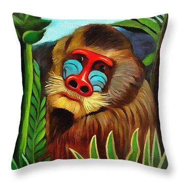 Mandrill In The Jungle Throw Pillow