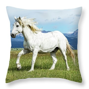 Mane And Feet Flying  Throw Pillow