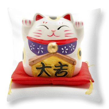Maneki Neko Throw Pillow by Fabrizio Troiani