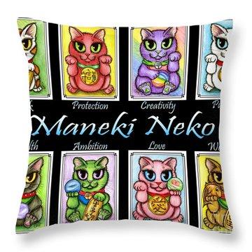 Maneki Neko Luck Cats Throw Pillow