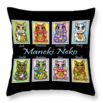 Throw Pillow featuring the painting Maneki Neko Luck Cats by Carrie Hawks