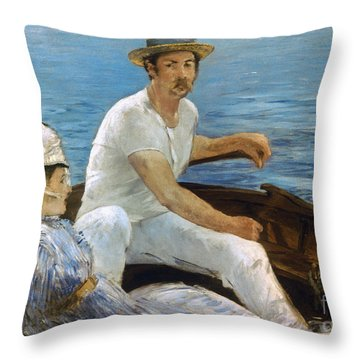 Manet: On A Boat, 1874 Throw Pillow by Granger