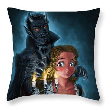 Manga Vampire And Woman Horror Throw Pillow