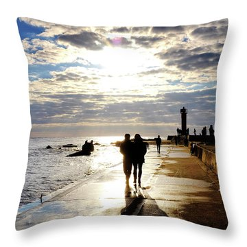 Throw Pillow featuring the photograph Mangalsala Pier by Fabrizio Troiani