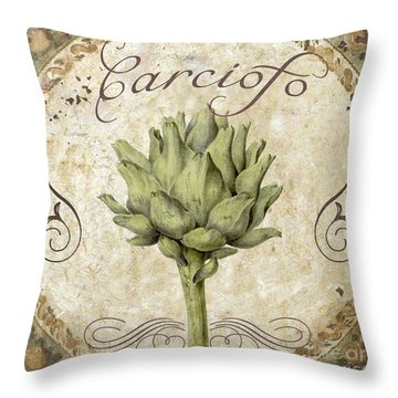 Mangia Carciofo Artichoke Throw Pillow by Mindy Sommers