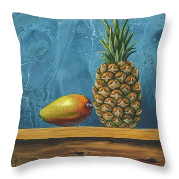 Throw Pillow featuring the painting Mango And Pineapple by Darice Machel McGuire