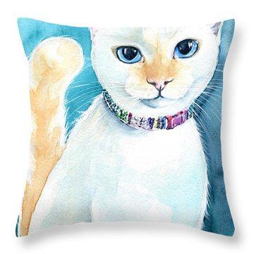 Mango - Flame Point Siamese Cat Painting Throw Pillow