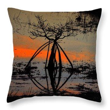 Mangrove Silhouette Throw Pillow by David Lee Thompson