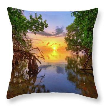 Mangrove Sunset From Jensen Beach Florida Throw Pillow