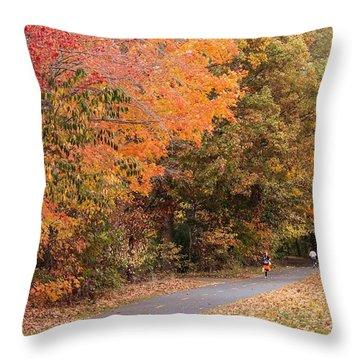 Manhan Rail Trail Fall Colors Throw Pillow