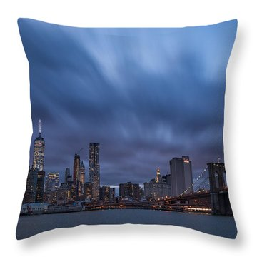Throw Pillow featuring the photograph Manhattan And Brooklyn Bridge by Michael Ver Sprill