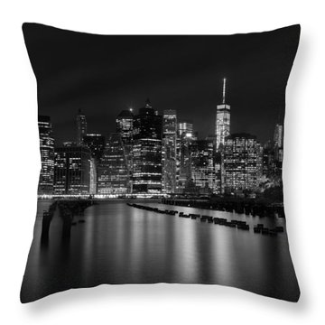 Manhattan At Night In Black And White Throw Pillow