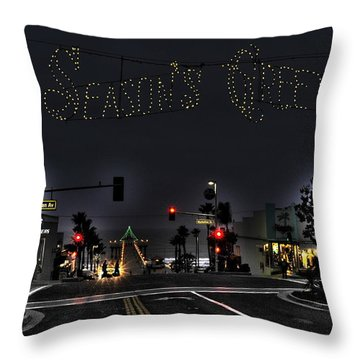 Manhattan Beach Christmas Throw Pillow