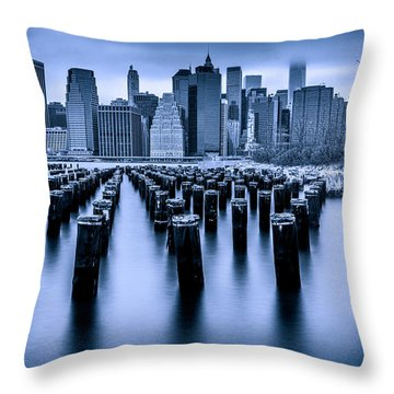 Throw Pillow featuring the photograph Manhattan Blues by Chris Lord