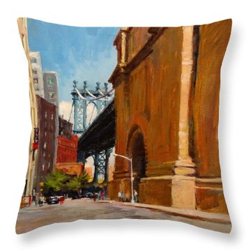 Manhattan Bridge From  Front Street, Brooklyn Throw Pillow