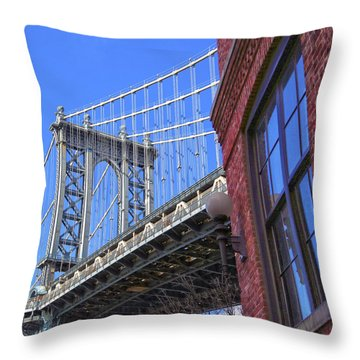 Throw Pillow featuring the photograph Manhattan Bridge by Mitch Cat