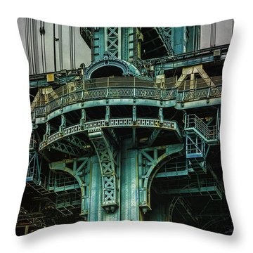 Throw Pillow featuring the photograph Manhattan Bridge Tower by Chris Lord