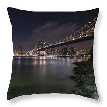 Manhattan Bridge Twinkles At Dusk Throw Pillow