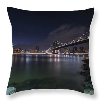 Manhattan Bridge Twinkles At Night Throw Pillow