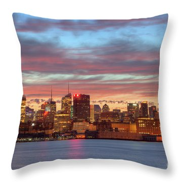 Manhattan Dawn Skyline I Throw Pillow by Clarence Holmes