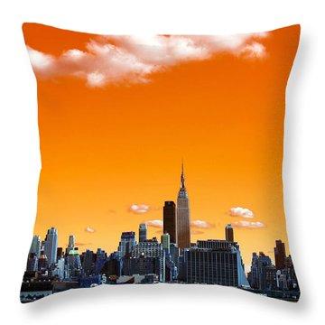 Throw Pillow featuring the photograph Manhattan Days Pop Art by John Rizzuto