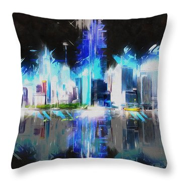 Manhattan Downtown Lights Throw Pillow