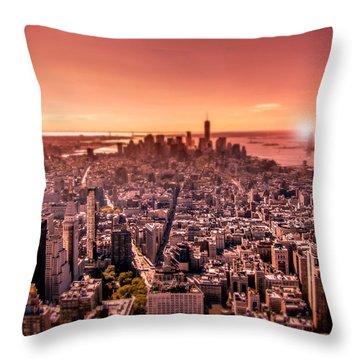 Manhattan In Red Throw Pillow